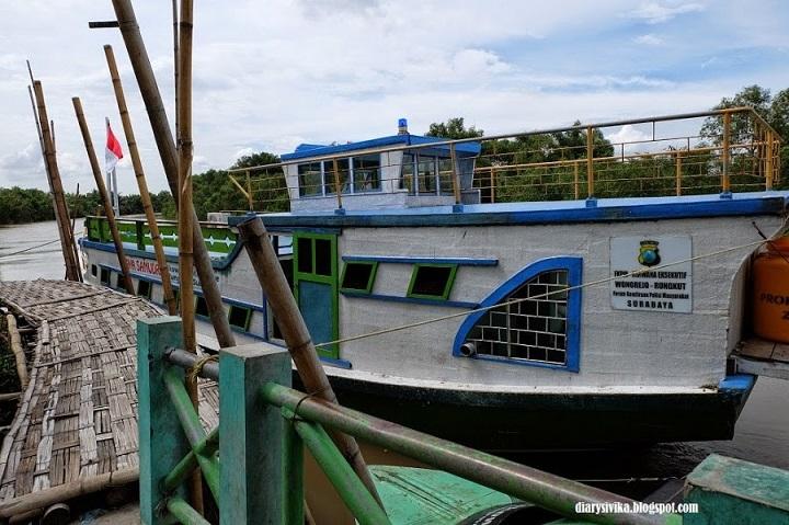sewa perahu di tempat wisata mangrove wonorejo