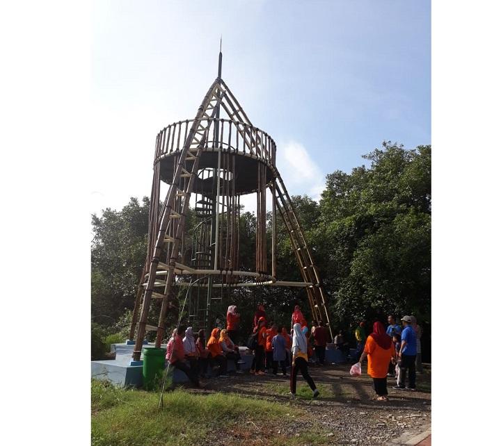 spot foto lingkaran bambu di wisata mangrove gunung anyar